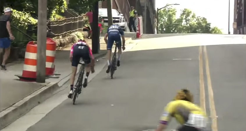 Howes and Bassett battle up the last steep kicker. photo: USAC live stream