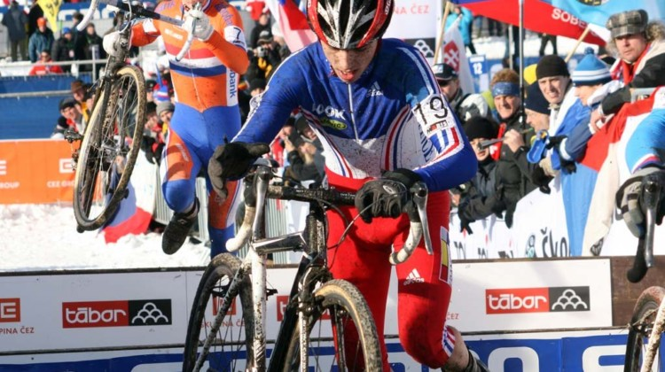 Julian Alaphilippe on his way to a silver medal at the 2010 Cyclocross World Championships in Tabor. © B. Hazen / Cyclocross Magazine
