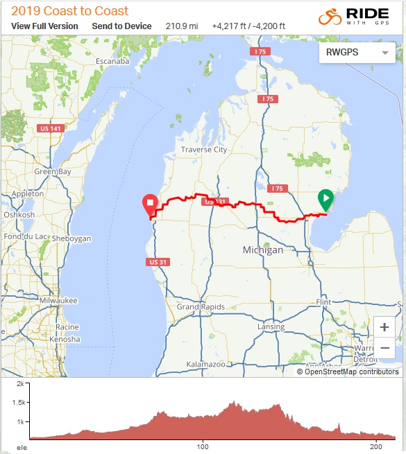 The Coast to Coast route crosses the Mitten State from Lake Huron to Lake Michigan. photo: RideWithGPS