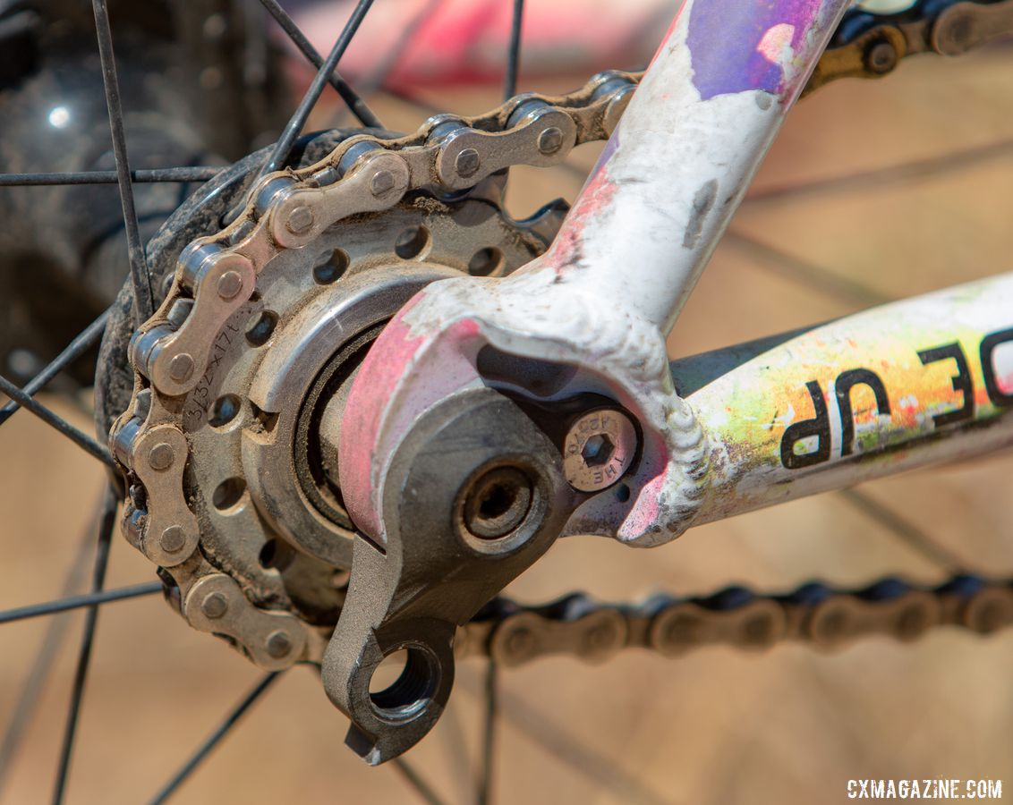 Runnels used a Paul Components Fixed Disk Word hub to run a thru-axle, fixed-gear rear. Sammi Runnels' 2019 Tracklocross Nationals Squid fixed gear cyclocross bike. © A. Yee / Cyclocross Magazine