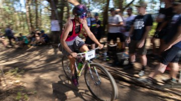 Sammi Runnels enjoyed the party in the woods while racing to a 2019 Tracklocross National Championship in Oakland. © A. Yee / Cyclocross Magazine