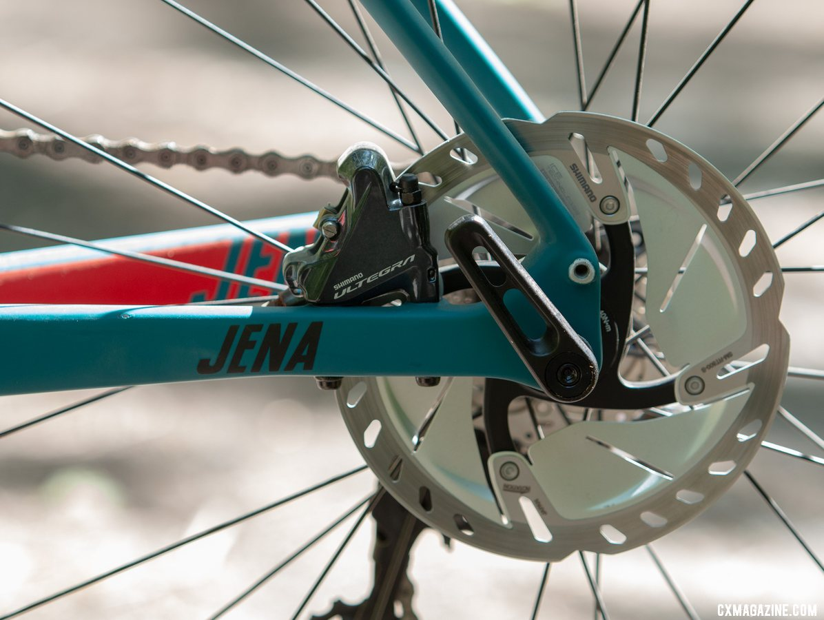 Flat mount and 12mm thru axle of course. The Wilier Triestina Jena carbon gravel bike. © A. Yee / Cyclocross Magazine