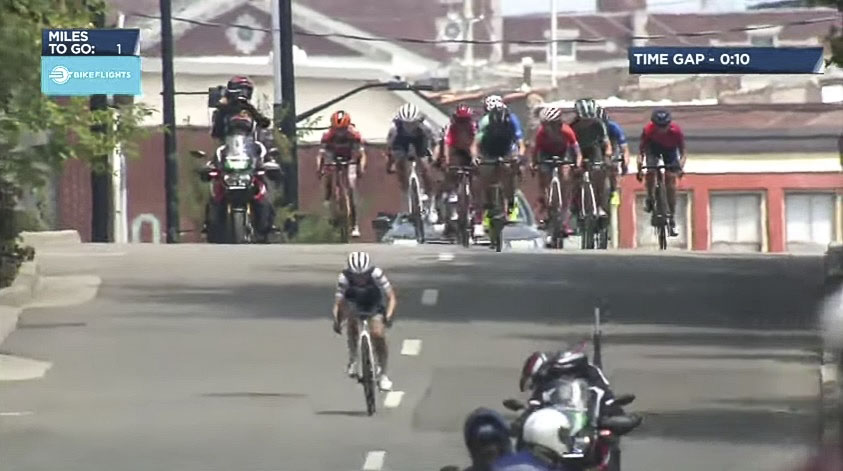 Winder had to hold off a charging group with a lot of firepower. photo: USAC live stream