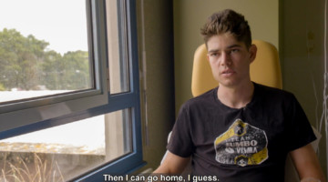 Wout van Aert gave an interview from his hospital room after his Tour de France crash and surgery. photo: Velon interview screenshot