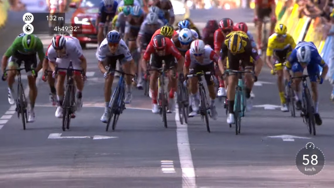 Wout van Aert sprinting for the win at the 2019 Tour de France Stage 10.