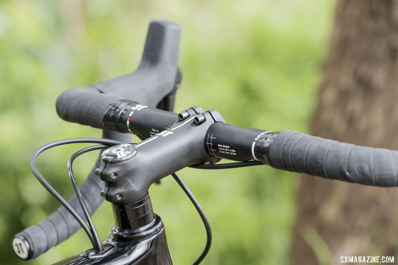 A 3T stem and handlebar make up the cockpit. 3T Exploro Team Force Gravel Bike. © C. Lee / Cyclocross Magazine