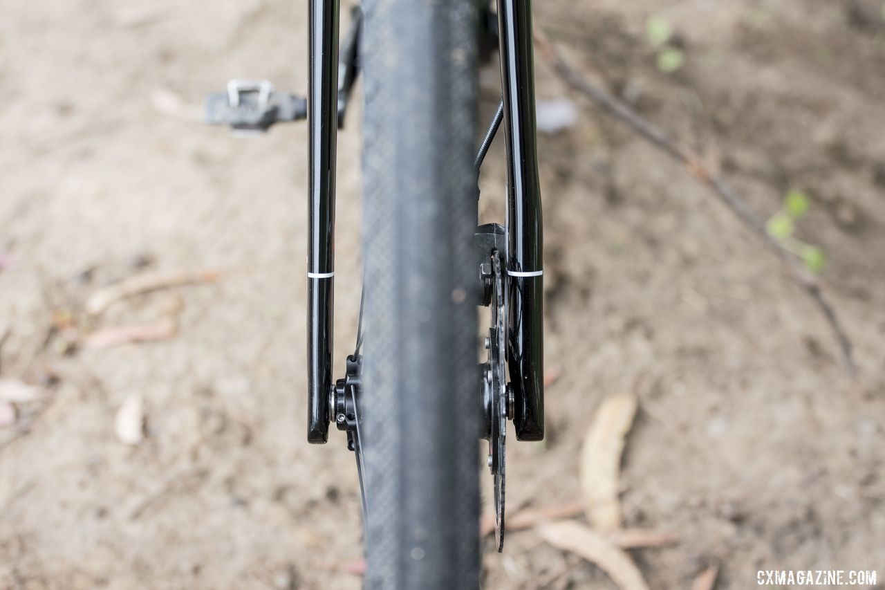 The fork blades are flat, with the caliper side a bit thicker. 3T Exploro Team Force Gravel Bike. © C. Lee / Cyclocross Magazine