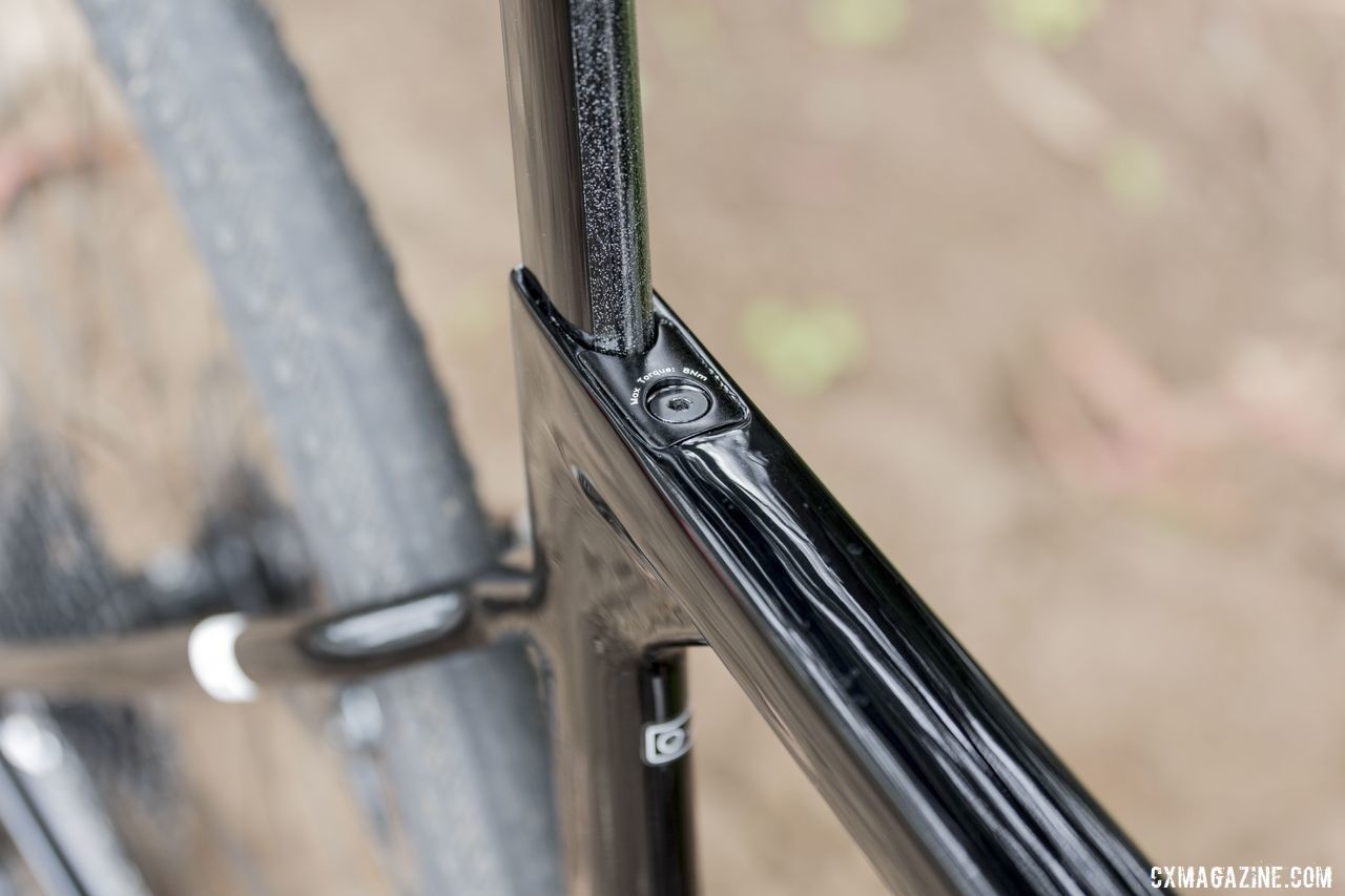 A wedge mechanism helps clamp the seatpost in place. 3T Exploro Team Force Gravel Bike. © C. Lee / Cyclocross Magazine