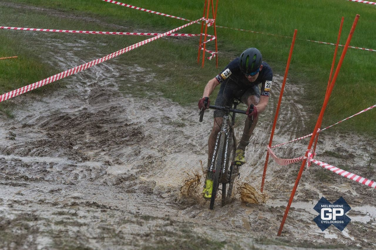 Rains around race time made the Men's Day 2 race a mud slide in spots. 2019 MELGPCX Day 2, Melbourne, Australia. © Ernesto Arriagada