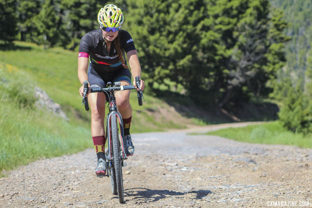 Ellie Mitchell climbed well during the QOM competitions. 2019 Women's MontanaCrossCamp. © Z. Schuster / Cyclocross Magazine