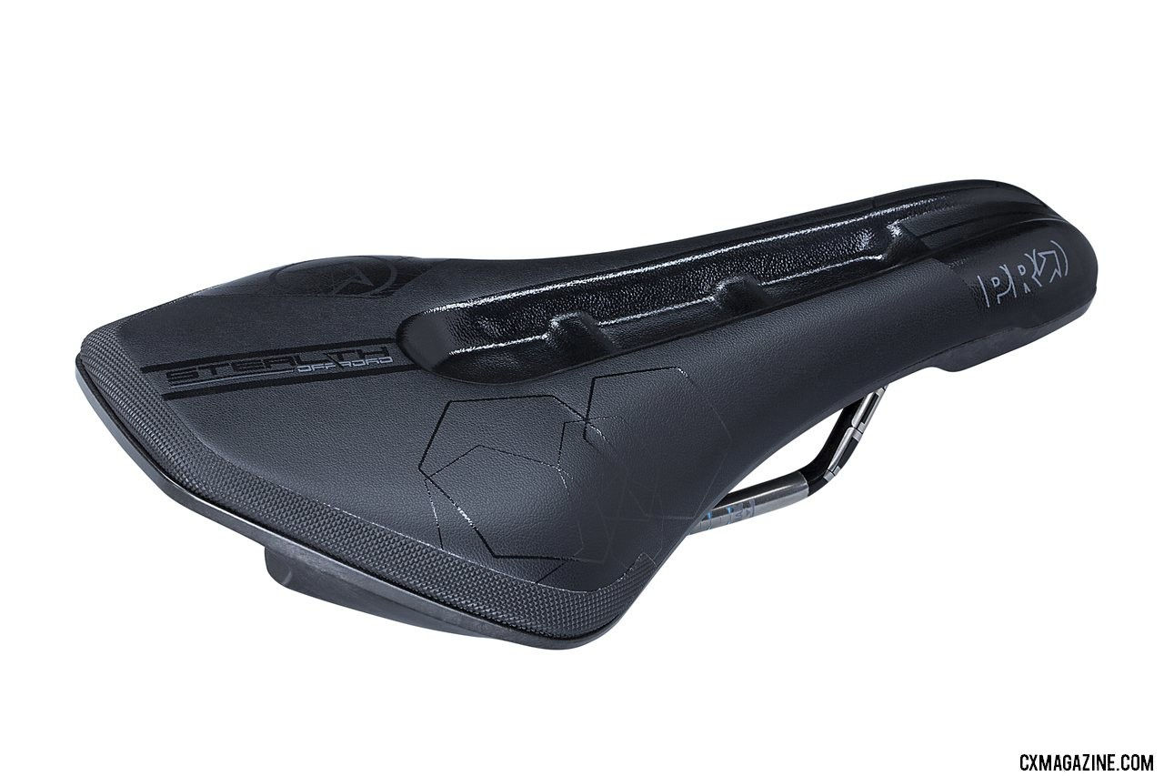 The new PRO offroad version of the Stealth saddle uses stainless steel rails, dual density paddings, a closed cut-out and armored rear edge. photo: Shimano