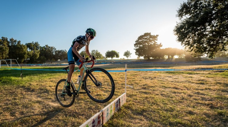 Dan English is a young, fast rider to watch. Here, he hops the barriers. 2019 West Coast Cyclocross Points Prestige. © Jeff Vander Stucken