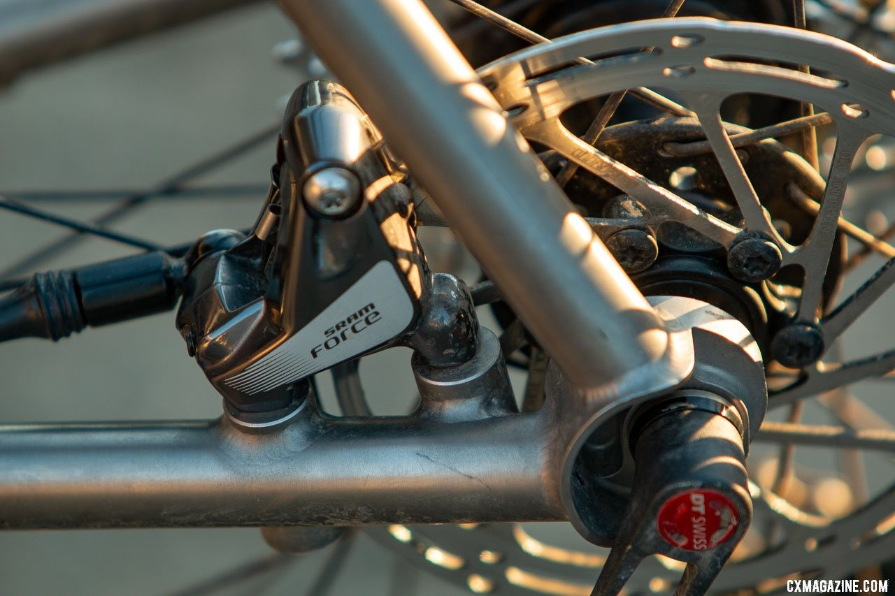 Flat mount disc brakes and Breezer-style dropouts. Merlin Sandstone titanium gravel bike. © Cyclocross Magazine