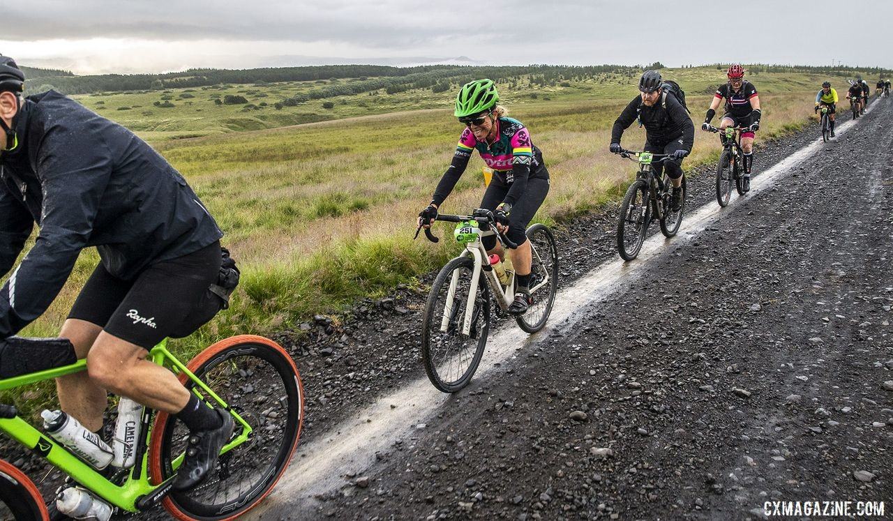 Suzanne Wheatall follows the leader on a smooth section of the road. The Rift Gravel Race 2019, Iceland. © Snorri Thor / Snorri Thor Photography