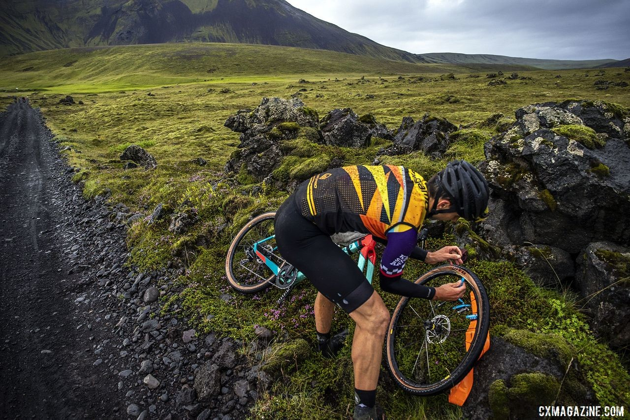 Like many gravel races, flats were unavoidable. The Rift Gravel Race 2019, Iceland. © Snorri Thor / Lauf