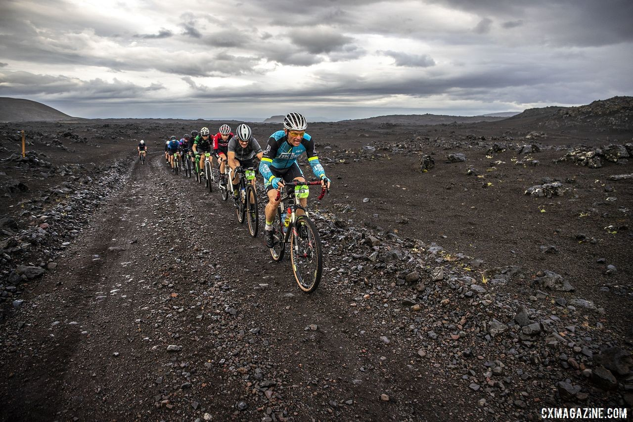The roads were quite rough in spots, leaving one good riding line. The Rift Gravel Race 2019, Iceland. © Snorri Thor / Lauf