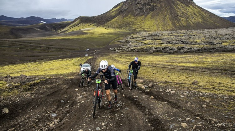The lead Men's group is forced off their bikes. The Rift Gravel Race 2019, Iceland. © Snorri Thor / Lauf