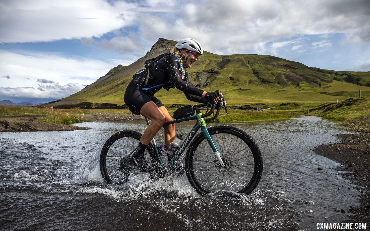 The route included several creek crossings. The Rift Gravel Race 2019, Iceland. © Snorri Thor / Lauf