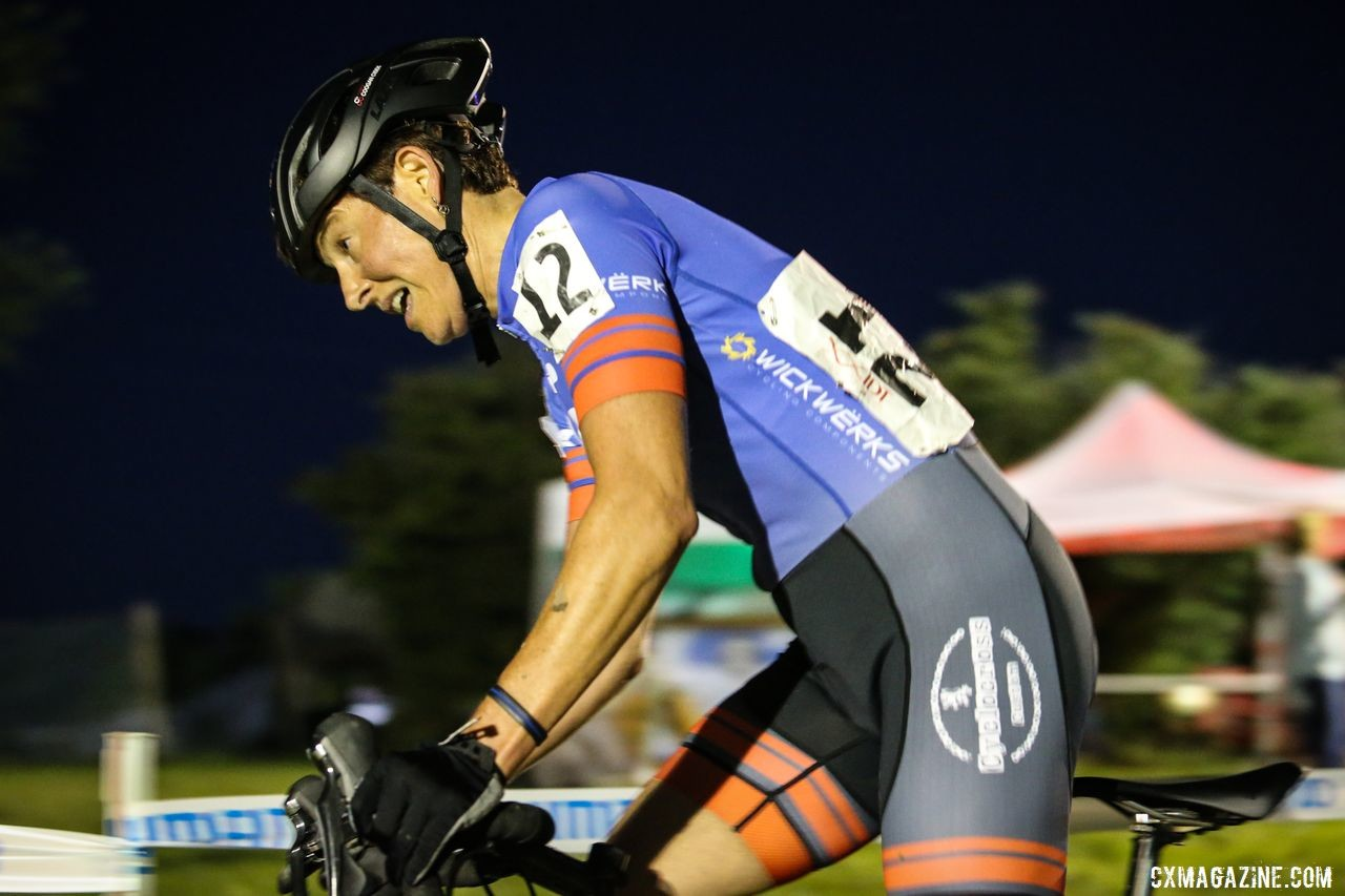 Corey Coogan Cisek races under the lights at Jingle Cross. © Jeff Corcoran
