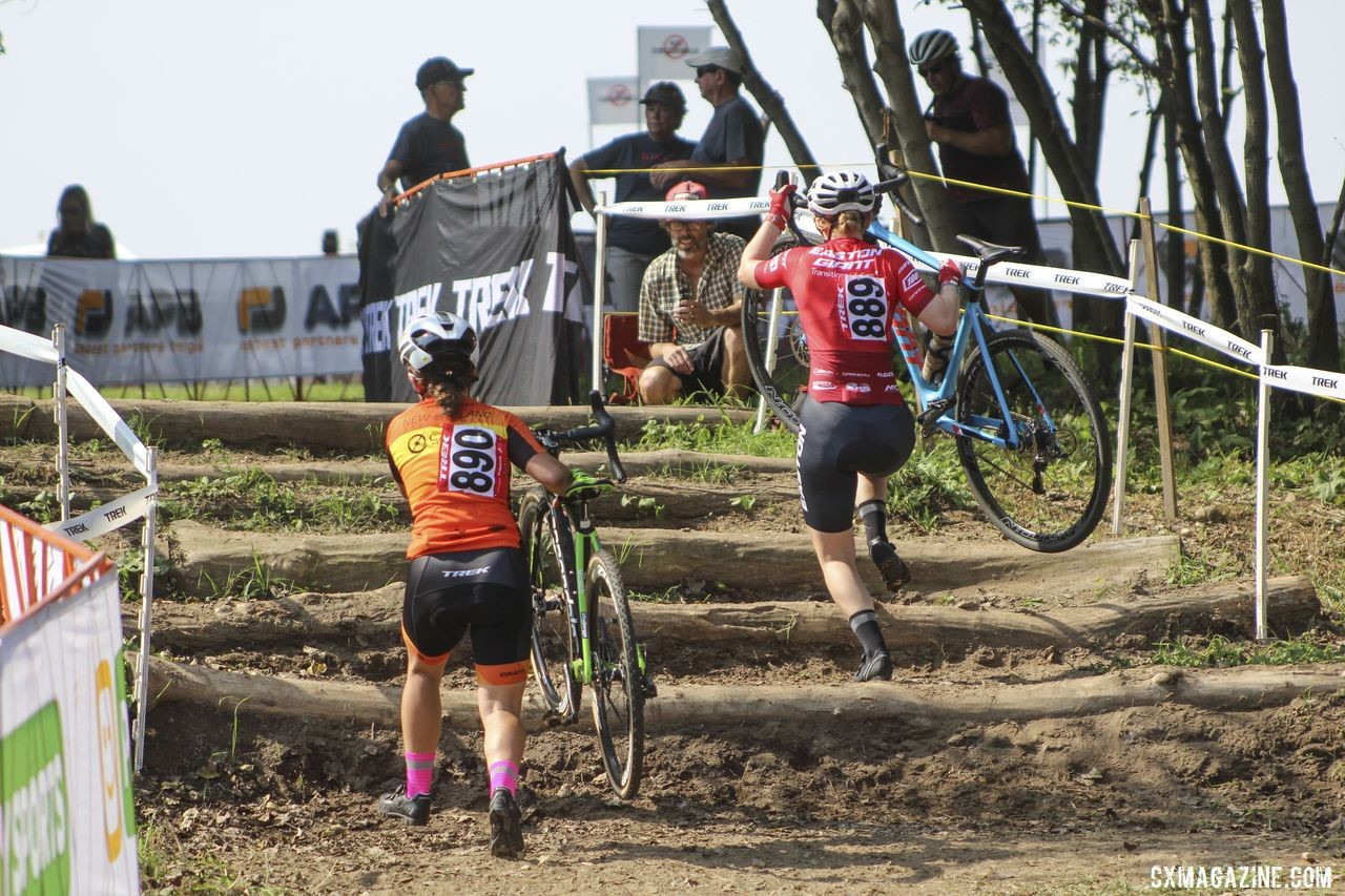Bridget Tooley and Kaia Schmid went off the front together early in Friday's race. 2019 Helen100 Junior Women's Race, Trek CX Cup. © Z. Schuster / Cyclocross Magazine