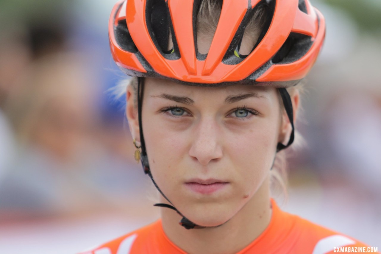 U23 World Champ Inge van der Heijden focuses before the World Cup. Faces of 2019 Jingle Cross. © D. Mable / Cyclocross Magazine
