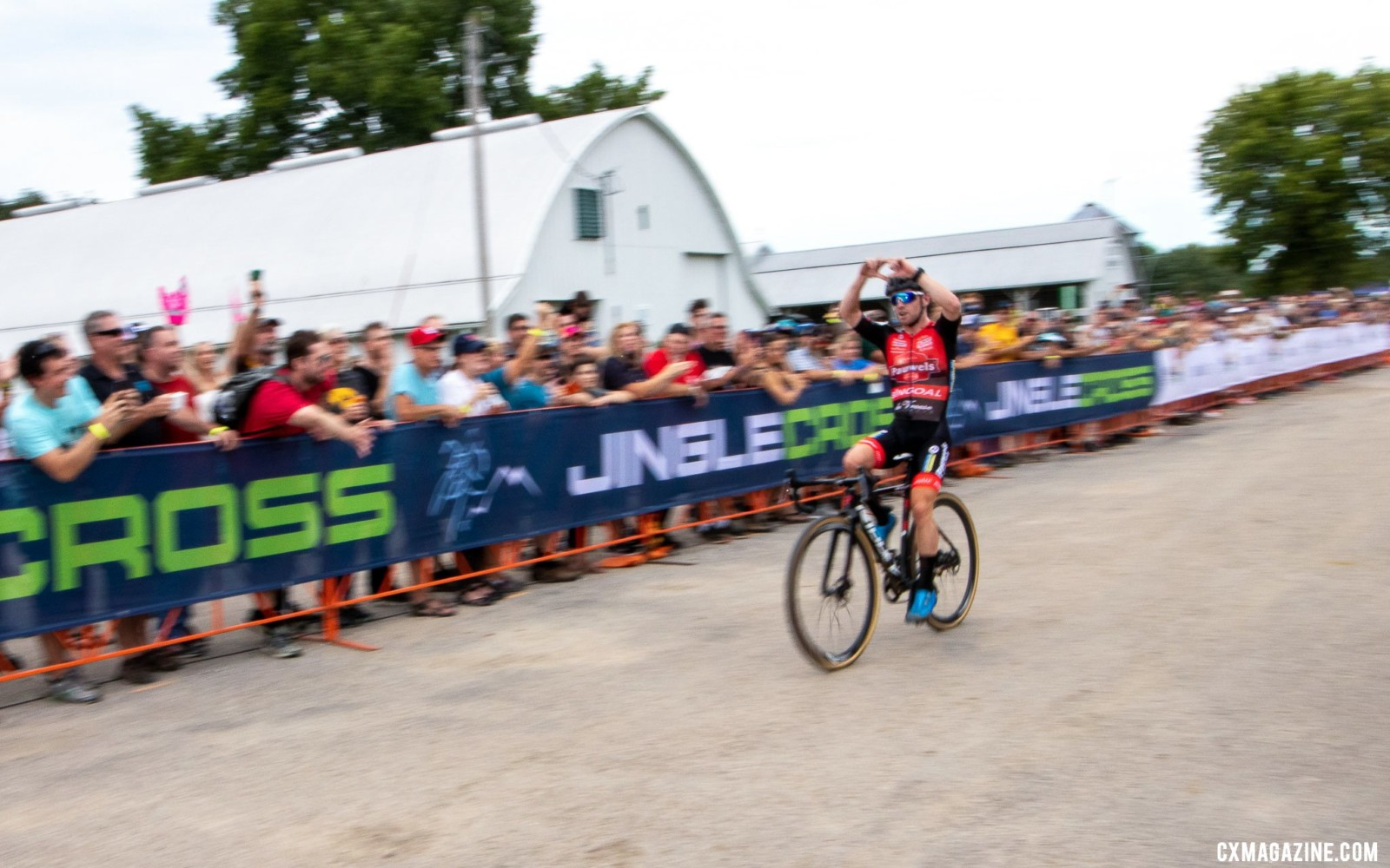 Eli Iserbyt celebrates his World Cup Win. 2019 Jingle Cross. © A. Yee / Cyclocross Magazine