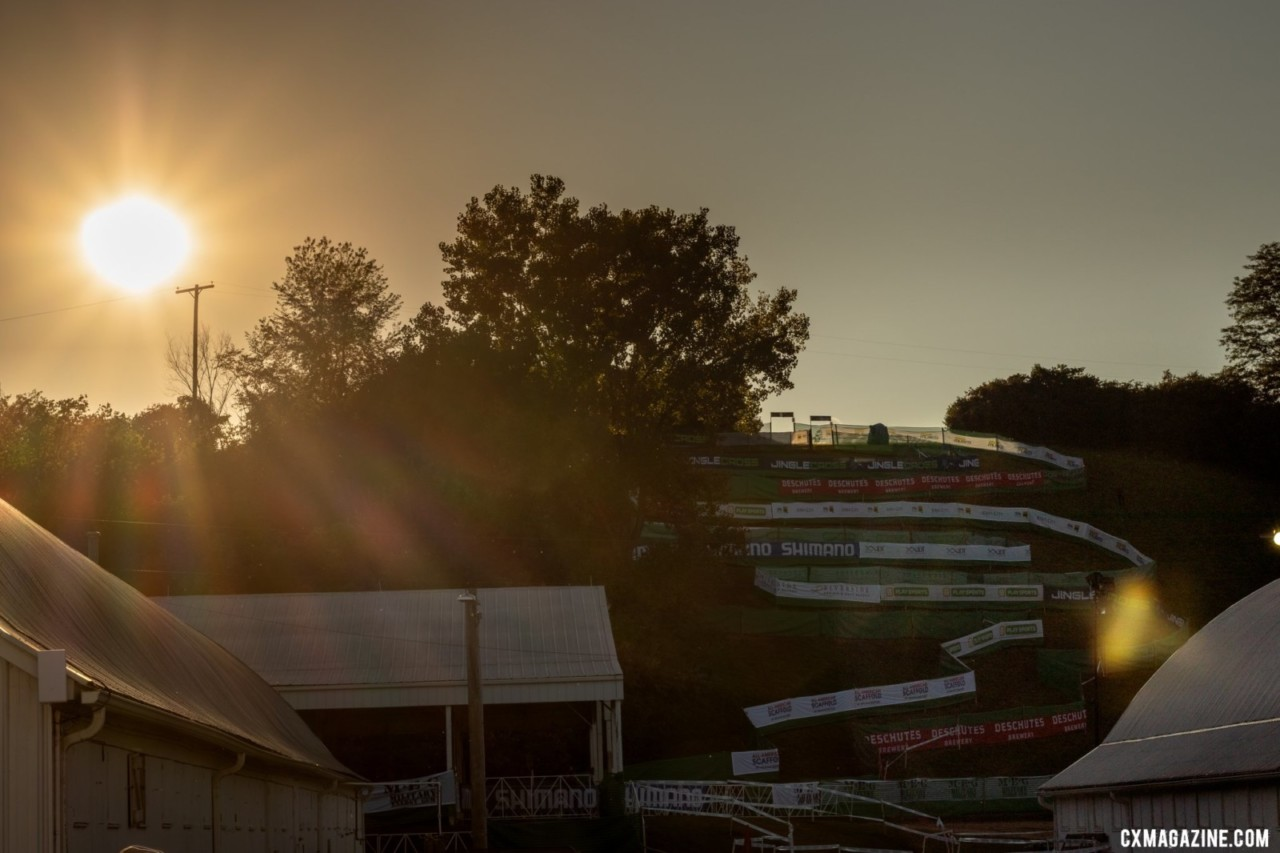 The sun sets over Mt. Krumpit on Firday evening. 2019 Jingle Cross. © A. Yee / Cyclocross Magazine