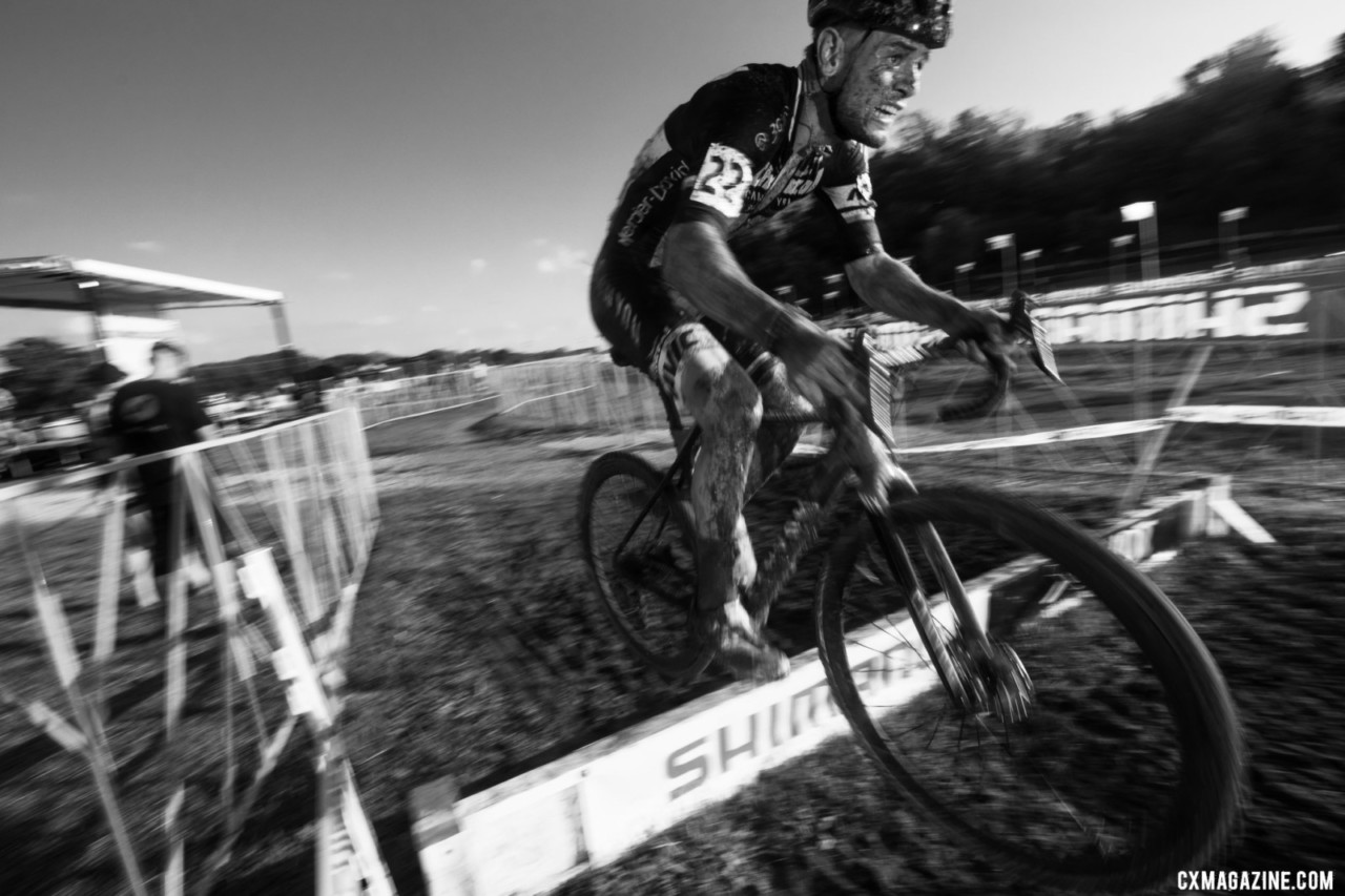 Chainel Steve Chainel gives a final hop over the barriers after three days of racing. 2019 Jingle Cross. © A. Yee / Cyclocross Magazine
