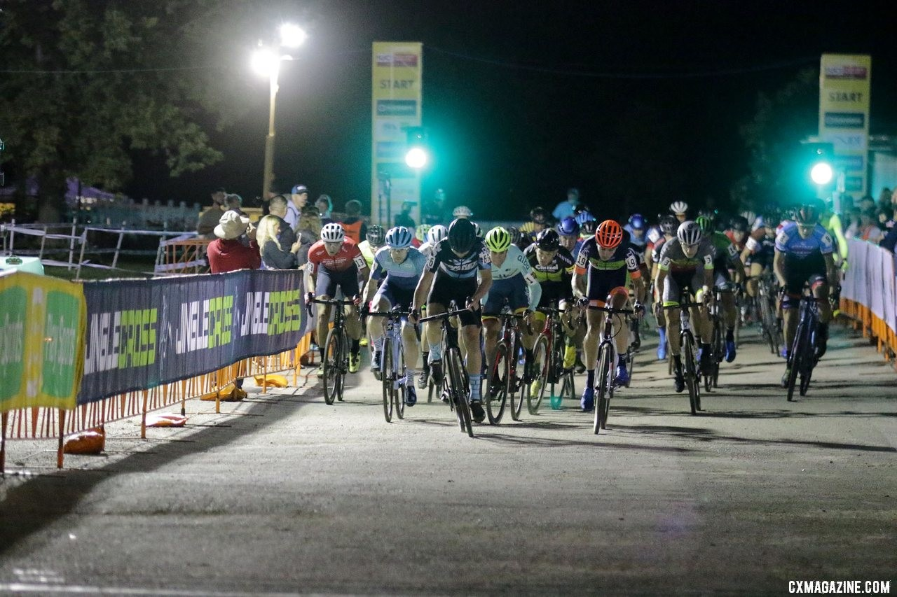 Tobin Ortenblad helps lead out the holeshot. 2019 Jingle Cross Friday Night Elite Men. © D. Mable / Cyclocross Magazine