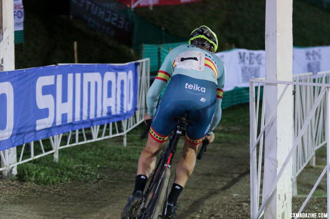 Orts flatted out of the lead, finishing third. 2019 Jingle Cross Friday Night Elite Men. © D. Mable / Cyclocross Magazine