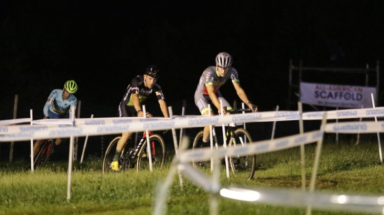 Loockx leads Chainel and Orts. 2019 Jingle Cross Friday Night Elite Men. © D. Mable / Cyclocross Magazine
