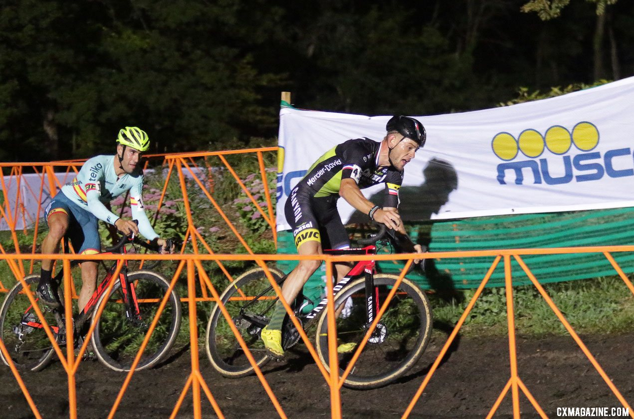 Steve Chainel and Felipe Orts Lloret battle in the lead trio. 2019 Jingle Cross Friday Night Elite Men. © D. Mable / Cyclocross Magazine