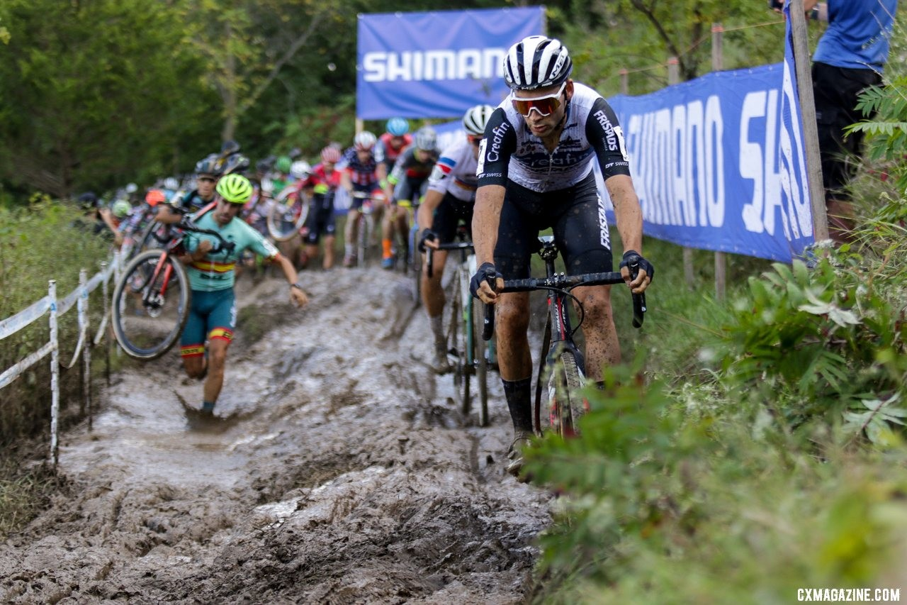 Gianni Vermeersch leads through the mud. 2019 Jingle Cross Sunday UCI C1, Elite Men. © D. Mable / Cyclocross Magazine