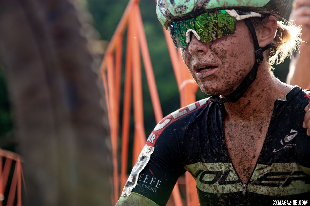 Mud, asthma or flat tires can't damper Nolan's enthusiasm for cyclocross. On Sunday, Nolan battled mud and asthma to a top-20 finish. 2019 Jingle Cross. © A. Yee / Cyclocross Magazine