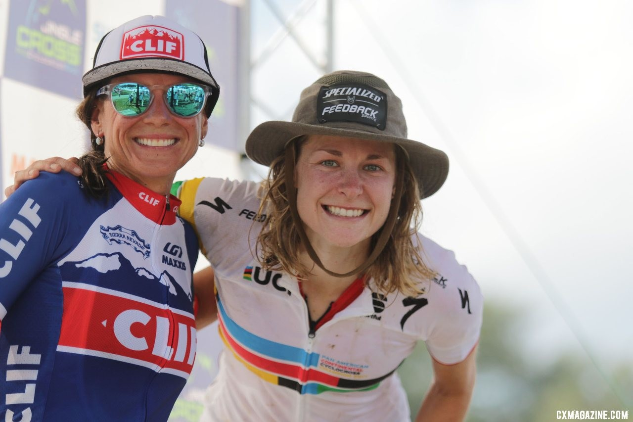 Friends and former teammates went 1-2 two days in a row. 2019 Jingle Cross Sunday UCI C1, Elite Women. © D. Mable / Cyclocross Magazine