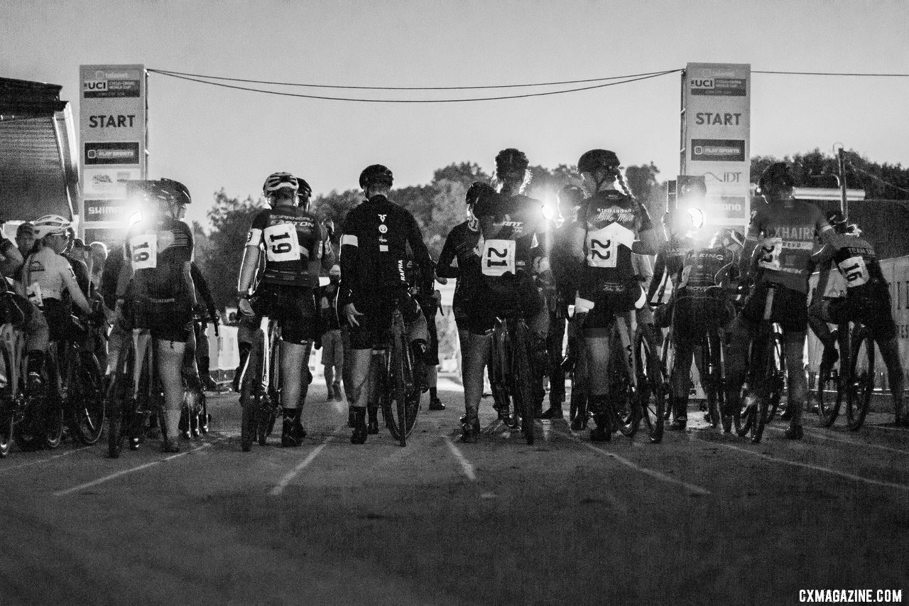 The Elite Women wait to start Friday night at Jingle Cross. 2019 Jingle Cross Friday Night Elite Women. © A. Yee / Cyclocross Magazine