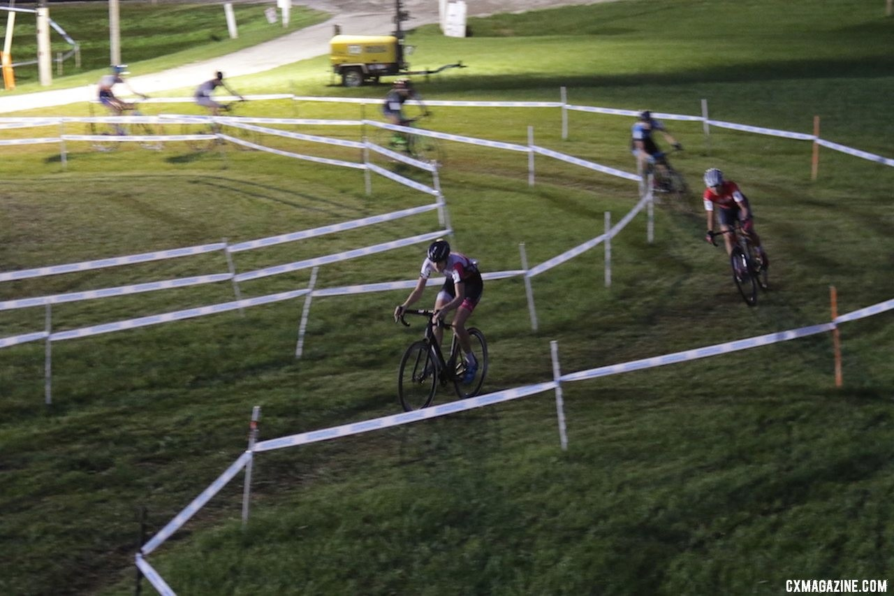 Manon Bakker took the lead early and did work at the front. 2019 Jingle Cross Friday Night Elite Women. © D. Mable / Cyclocross Magazine