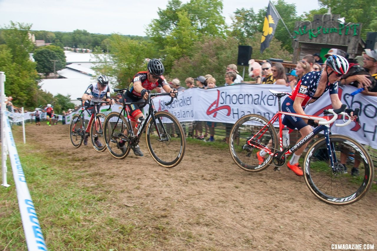 Stephen Hyde rode strongly until his back seized up. He did not finish. © L. Northway / Cyclocross Magazine