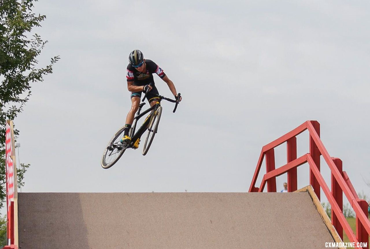 Thibau Nys takes flight at the 2019 Trek CX Cup. © D. Mable / Cyclocross Magazine