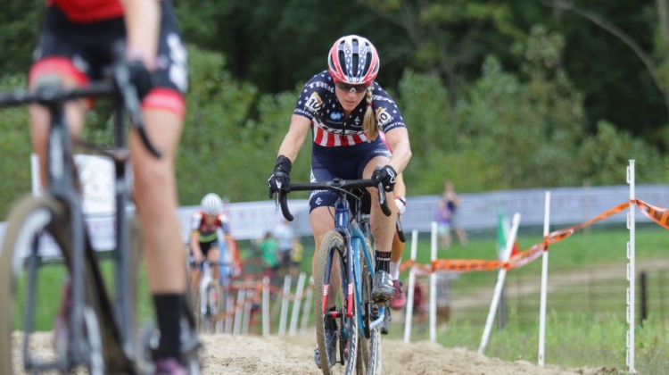 Katie Compton suffered in the heat to finish 22nd. 2019 Jingle Cross World Cup, Elite Women. © D. Mable / Cyclocross Magazine