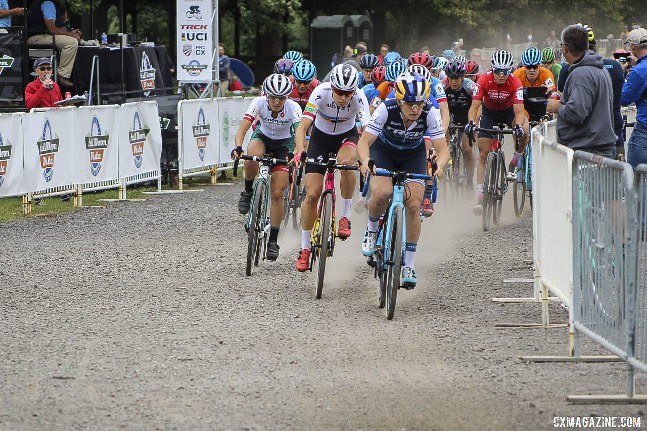 Ellen Noble took the holeshot on Saturday. 2019 Rochester Cyclocross Day 1. © Z. Schuster / Cyclocross Magazine