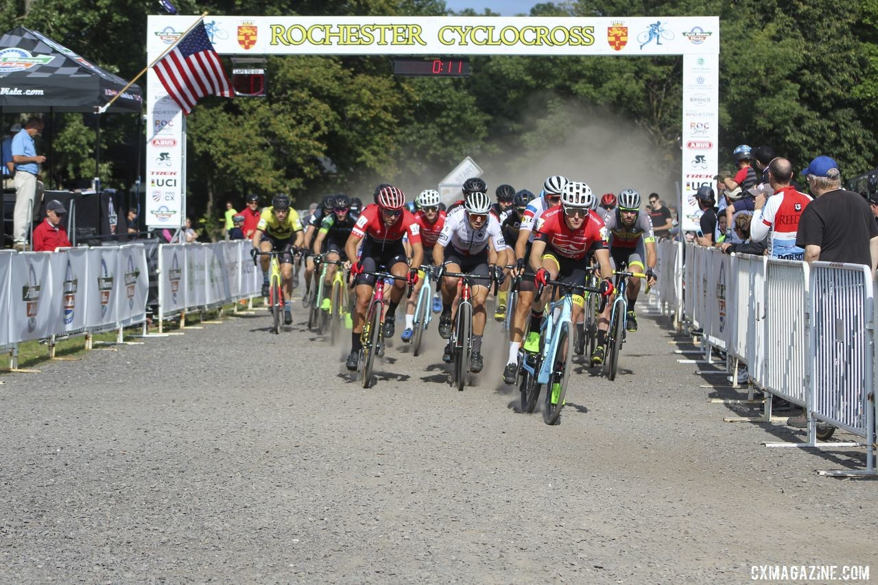 Gage Hecht took the Day 1 holeshot. 2019 Rochester Cyclocross Day 1. © Z. Schuster / Cyclocross Magazine