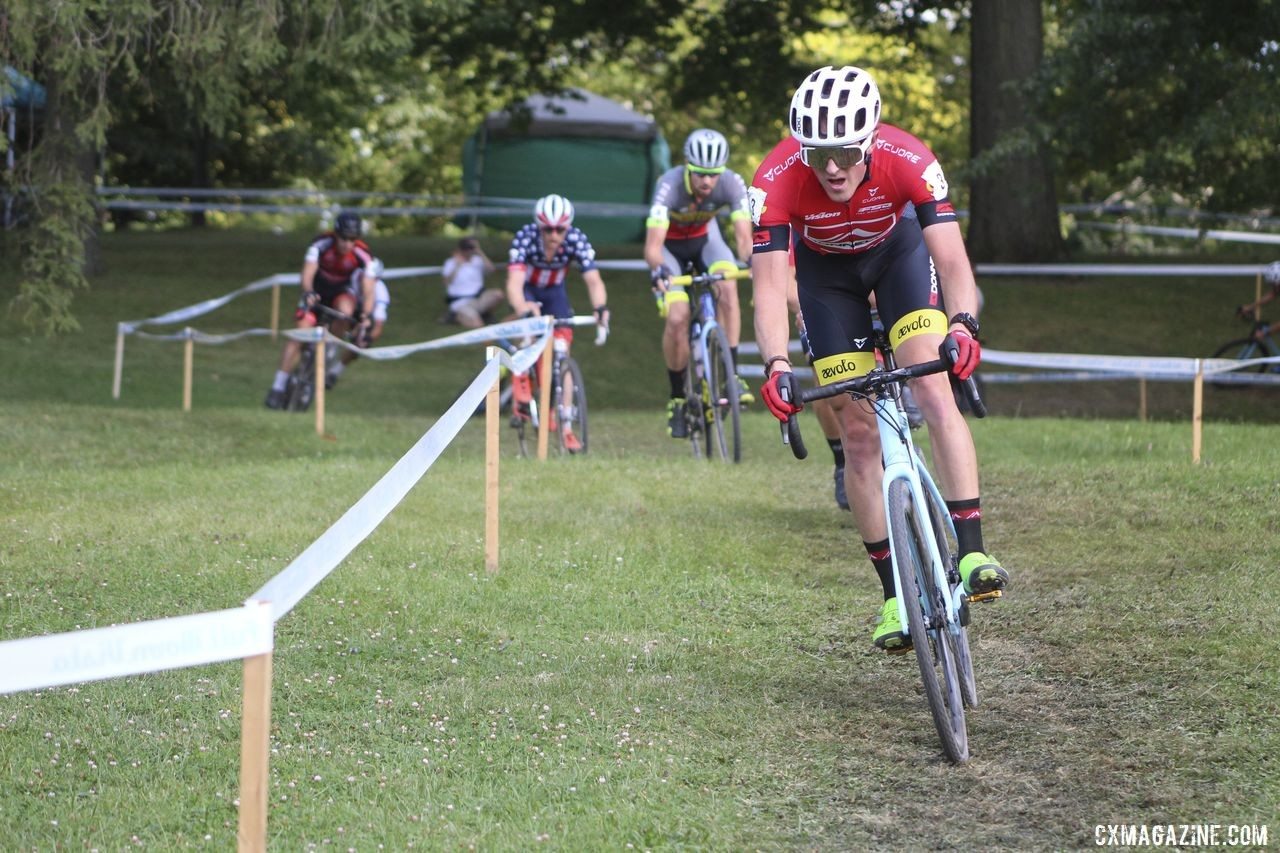 Gage Hecht leads a long line of riders early in the race. 2019 Rochester Cyclocross Day 1. © Z. Schuster / Cyclocross Magazine