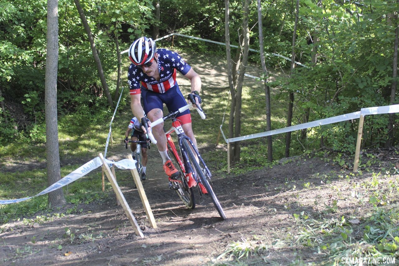 Once he made contact, Stephen Hyde pushed the pace at the front. 2019 Rochester Cyclocross Day 1. © Z. Schuster / Cyclocross Magazine
