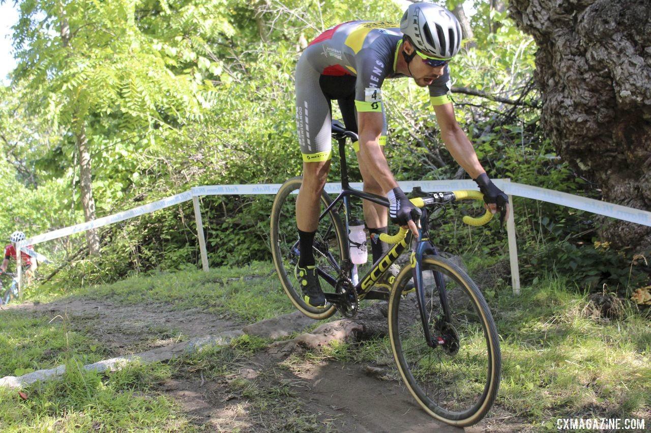 Vincent Baestaens sized up his opportunity each time through the woods. 2019 Rochester Cyclocross Day 1. © Z. Schuster / Cyclocross Magazine