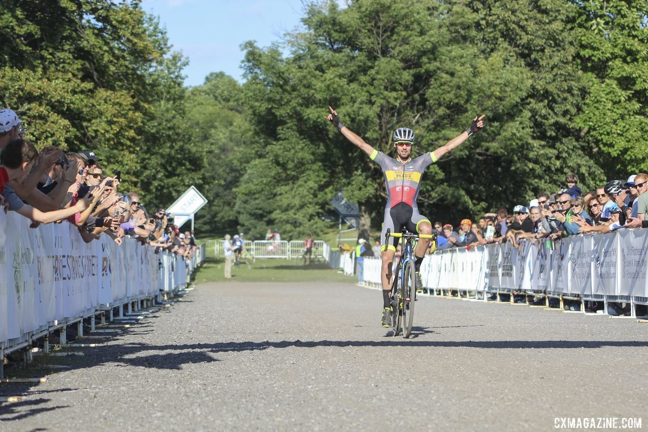 Vincent Baestaens celebrates his win. 2019 Rochester Cyclocross Day 1. © Z. Schuster / Cyclocross Magazine