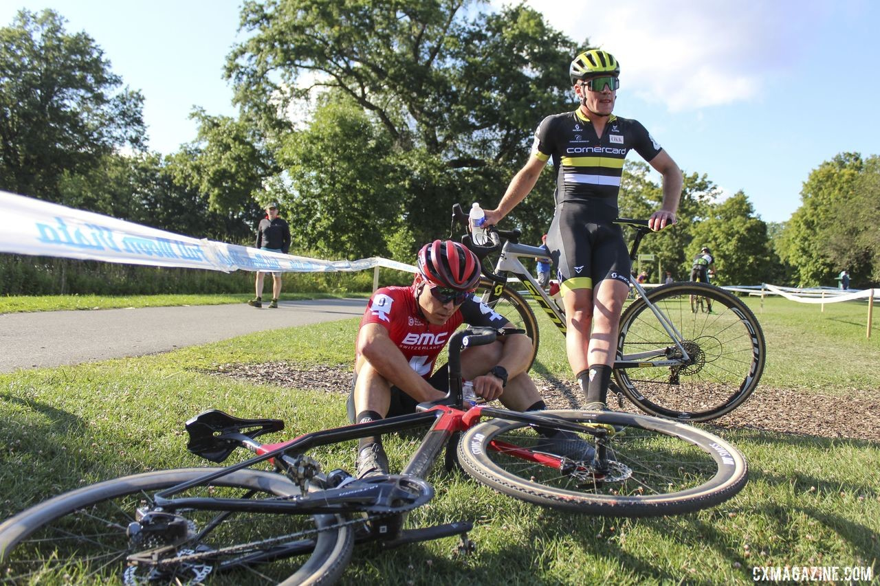 Timon Ruegg takes a moment after a fast and furious hour of racing. 2019 Rochester Cyclocross Day 1. © Z. Schuster / Cyclocross Magazine