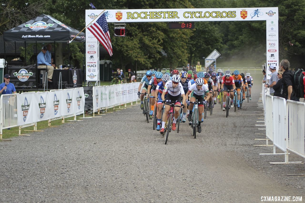 Maghalie Rochette took the holeshot on Sunday. 2019 Rochester Cyclocross Day 2. © Z. Schuster / Cyclocross Magazine