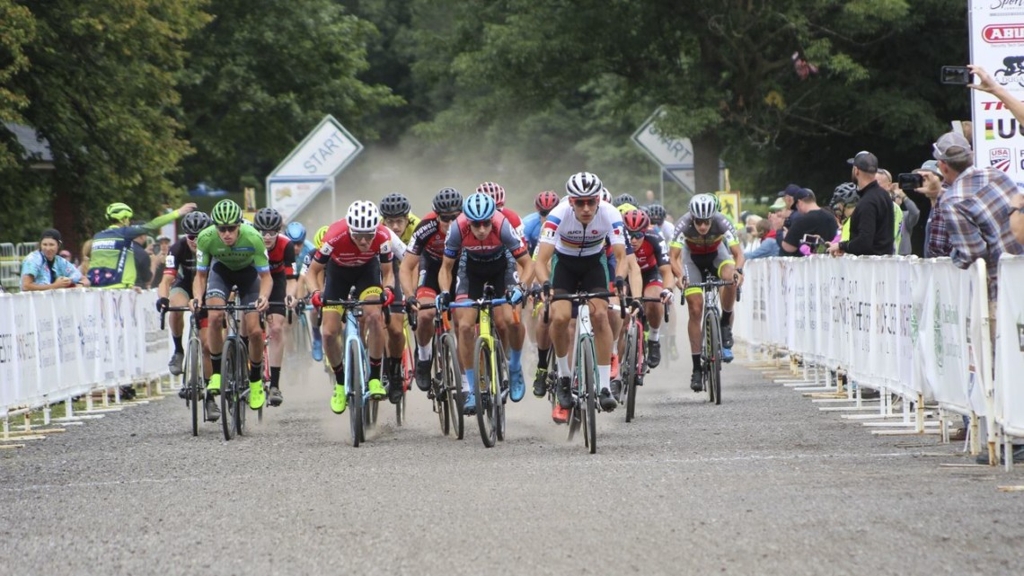 Curtis White took the holeshot on Sunday. 2019 Rochester Cyclocross Day 2. © Z. Schuster / Cyclocross Magazine