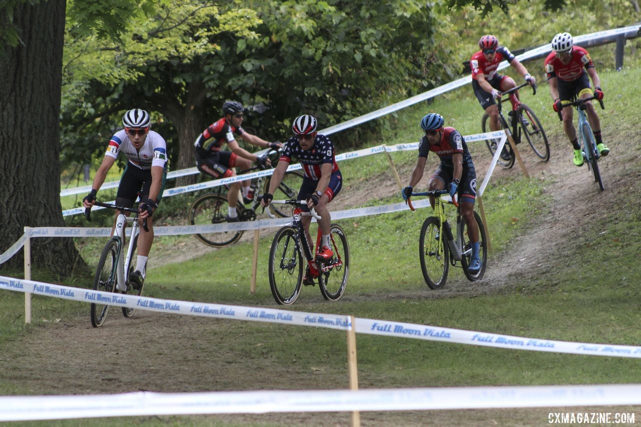 Curtis White leads the early group of seven. 2019 Rochester Cyclocross Day 2. © Z. Schuster / Cyclocross Magazine